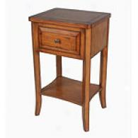 Country Antiqued Side Table With Drawef And Shelf