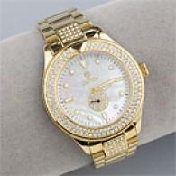 Croton Mens Goldtone Mother Of Pearl Crystal Watch