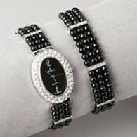 Croton Womens 3 Strand Agate Globule Watch & Brqcelet
