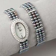 Croton Womens 3 Strand Cultured Pearl Watch