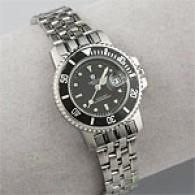 Croton Womens Black Dial Stainless Steel Watch