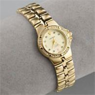 Croton Womens Dress Gold Tone & Crystal Watch
