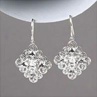 Cubic Zirconia & Silver Filigree Drop Eardings