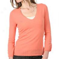 Cullen Cashmere V Neck Sweater Through  Ruching
