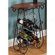 Curved Iron Wood  Bottle & Glass Wine Bar
