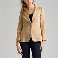 Cynthia Rowley Cotton Sateeb Back Cutout Jacket