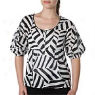 Cynthia Steffe Black & White Balloon Top