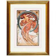 Dance (golden) Framed Print By Alphonse Mucha