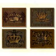 Dark Crowns Set Of 4 11in X 14in Canvas Prints