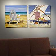 Day At The Beach Set Of 2 Oudtoor Canvas Prints
