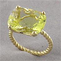 Designer Inspired 10k Lemoj Quartz Cocktail Ring