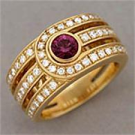 Di Modolo 18k 0.76 Cttw. Diamond & Rhodolite Ring