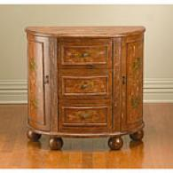 Distressed Brown 3 Drawer 2 Door Console Cabinet