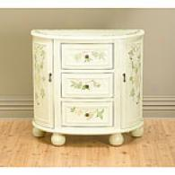Distressed Green & Antique Ivory Cabinet Console
