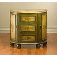 Distressed Green & Antique Yellow Cabinet Console