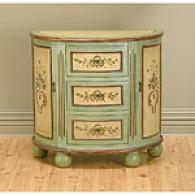 Distressed Green & Tan Antique Cabinet Console