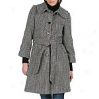 Dkny Large Collar Belted Tweed Wool Blend Coat