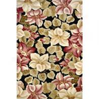 Dynasty Collection Black Floral Rug