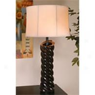Ebony Wood Spiral Table Lamp