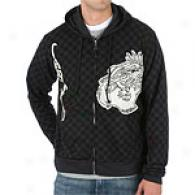 Ed Hardy Checkered Hoodie With Leather Applique