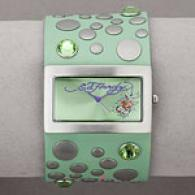 Ed Hardy Love Child Green Leather Watch