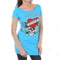Ed Hardy Love Kills Web Sleeve Rhinestone Tunic