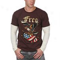Ed Hardy Mens Brown Free Double Sleeve Tee
