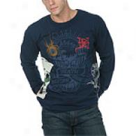 Ed Bold Men's Sailor Skull Navy Log Sleeve Tee