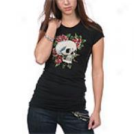 Ed Hardy Skull & Roses Black Rhinestone Cotton Tee
