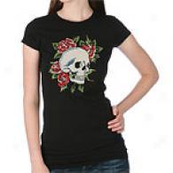Ed Hardy Skull & Roses Rhinestone T-shirt
