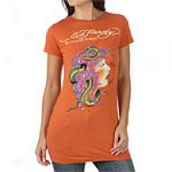 Ed Hardy Snake Head Deficient Sleeve Tumic Top