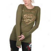 Ed Hardy Tiger Army Green Tunic Top