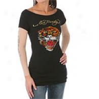 Ed Hardy Tiger Web Double Sleeve Rhinestone Tunic