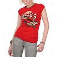 Ed Hardy Womens Deatth Of Love Red Tunic Tee