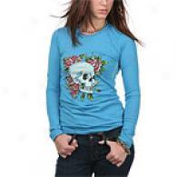Ed Hardy Womens Skull & Roses Blue Long Sleeve Tee