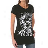 Ed Hardy World Tour '58 B&w Flocked Glitter Tee