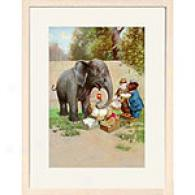 Elephant And Bear 13in X 17in Framed Print