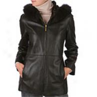 Ellen Tracy Black Anorak Leather Coat With Fur