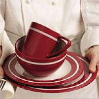 Emeril 16pc Adobe Red Stoneware Dinnerware Regular