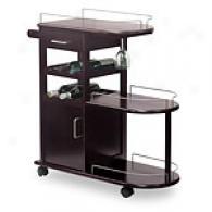 Espresso Entertainment Cart Wine Rack On Whsels