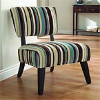 Essex Blue, Ivory & Brown Striped Chair