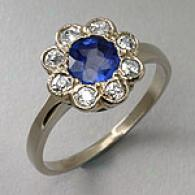 Estate 14k White Gold Diamond & Sapphire Ring