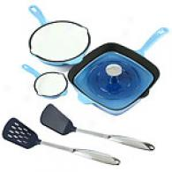 Famous Maker 6pc Blue Cast Iron Cookware Set