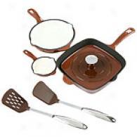 Famous Maker 6pc Chocolate Cast Iron Cookware Set