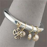 Fiori Silver & Gold Pearl & Charm Bangle Bracelet