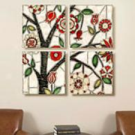 Floral Mosaic Set Of 4 16in X 16in Canvas Prints