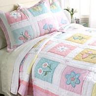 Flower Box Pink Cotton Quilt And Sham Set