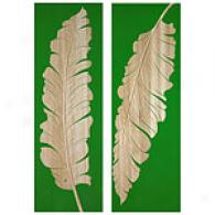 Forest Green Tropical Leaf 48in X 16in Wood Art