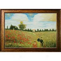 Framed Monet Poppy Field Oil Painting