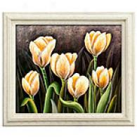 Framed Oil Painting Orange Tulips Blooming